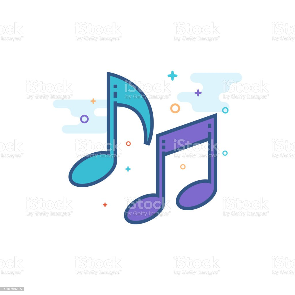 Flat Color Icon - Music notes vector art illustration
