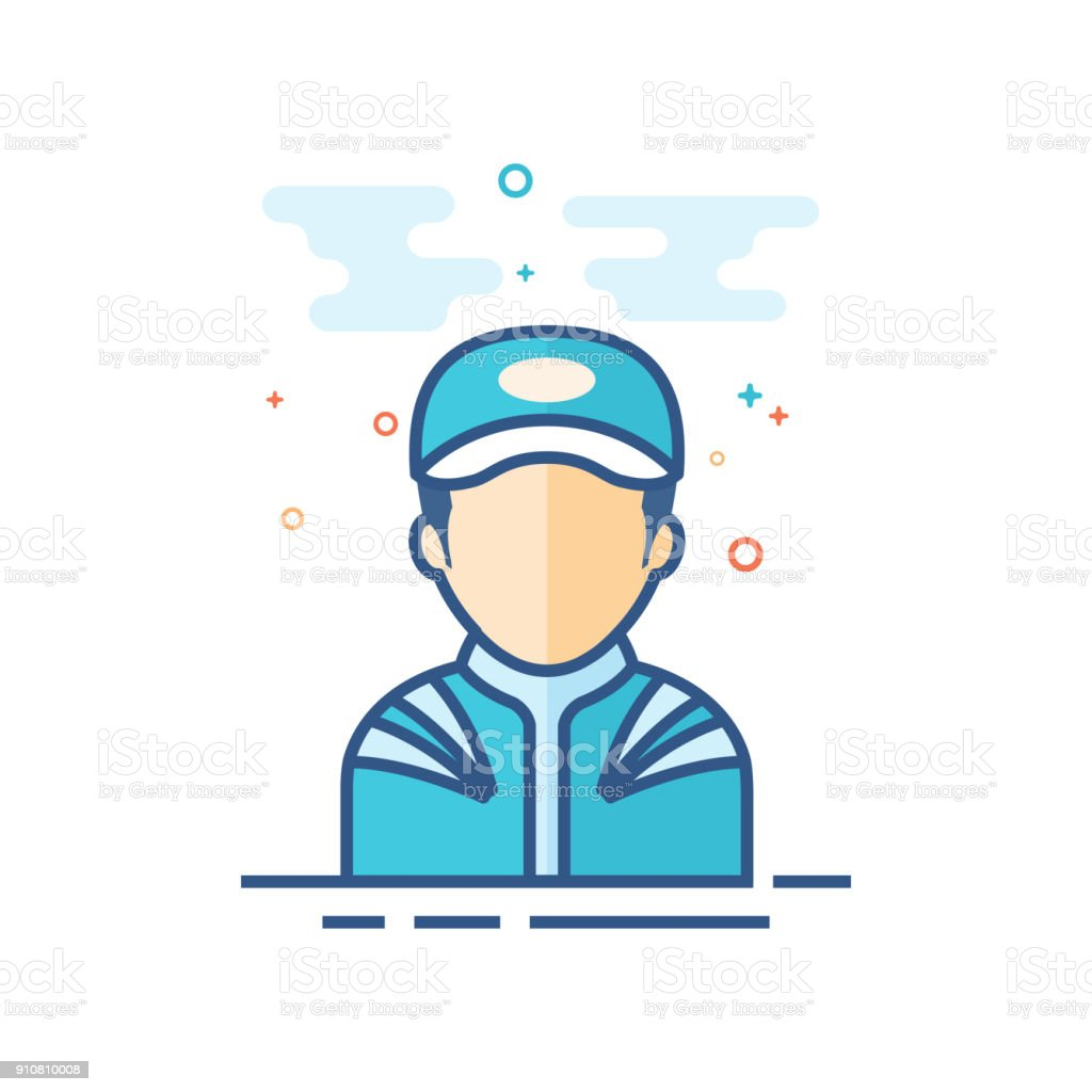 Flat Color Icon - Racer avatar vector art illustration