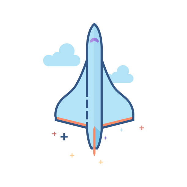 Flat Color Icon - Supersonic airplane Supersonic airplane icon in outlined flat color style. Vector illustration. supersonic airplane stock illustrations