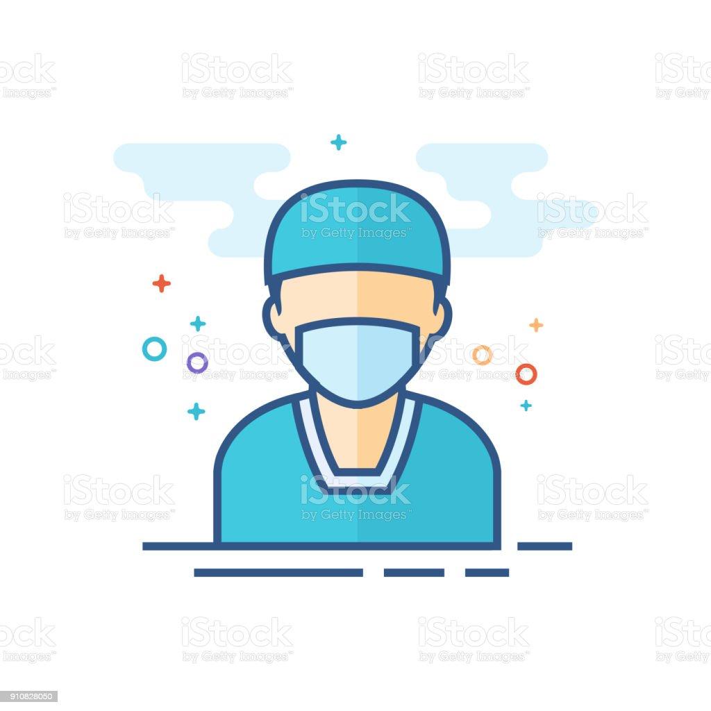 平板顏色圖示-外科醫生 - 免版稅人造物件圖庫向量圖形