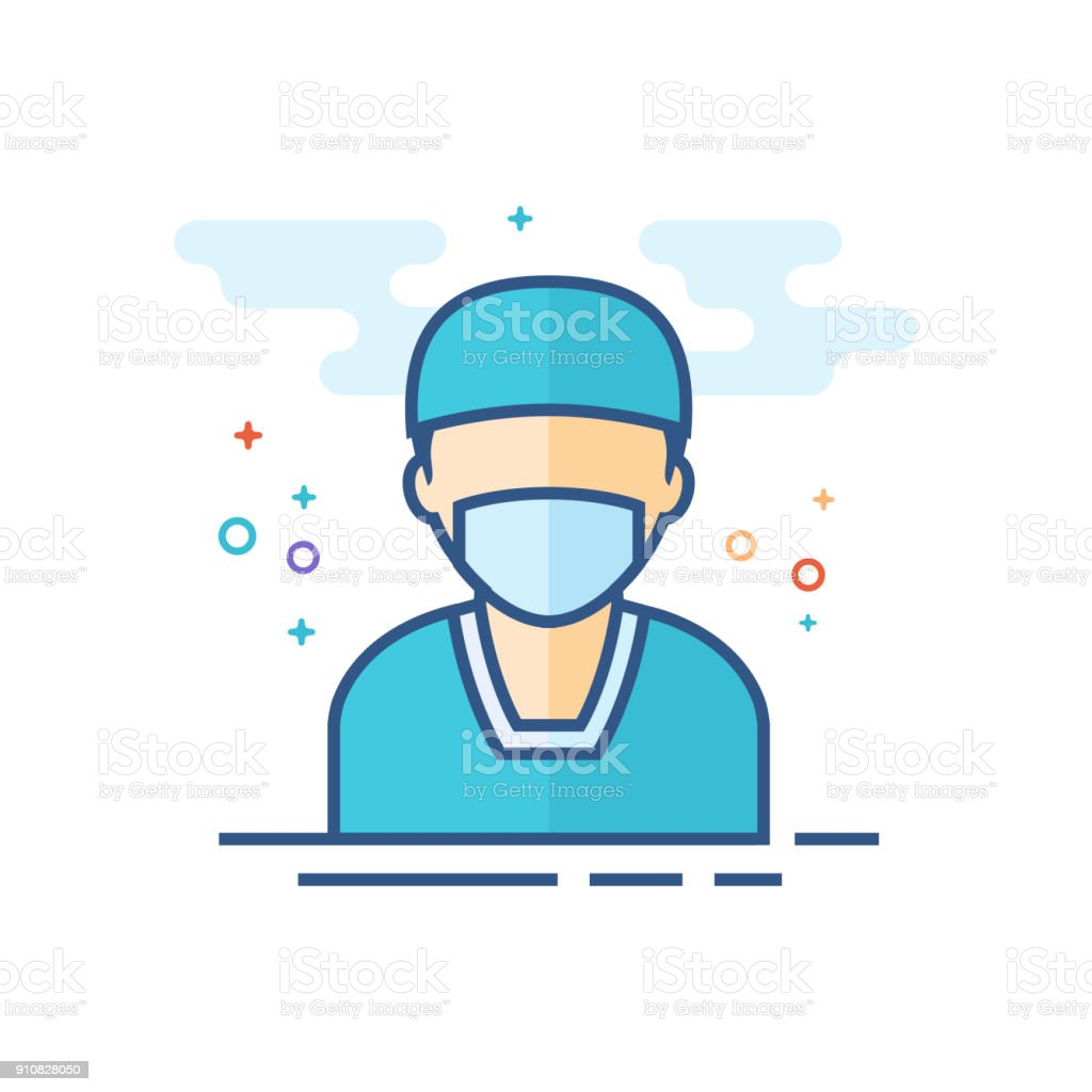 Flat Color Icon - Surgeon vector art illustration