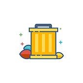 Flat Color Icon - Trash bin