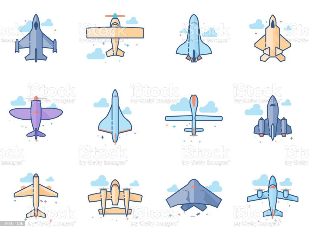 Ilustración de Color De Los Iconos Plana De Aviones y más banco de ...