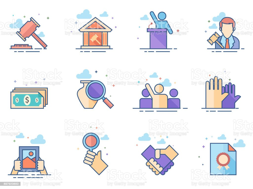 Flat color icons - Auction vector art illustration