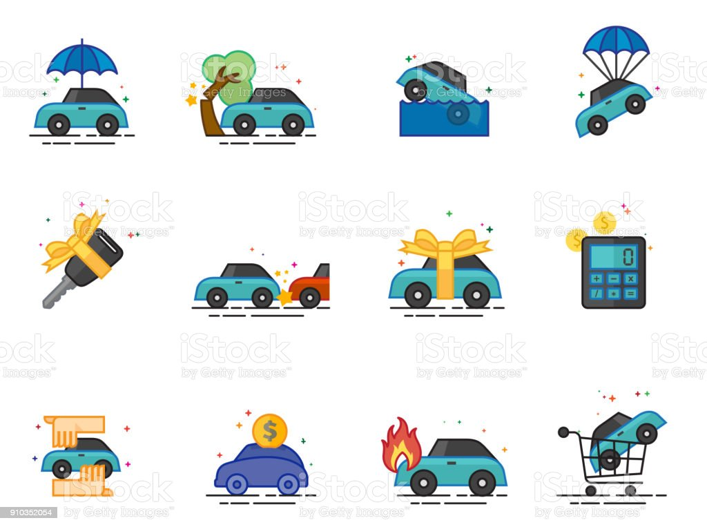 Flat color icons - Auto Insurance vector art illustration