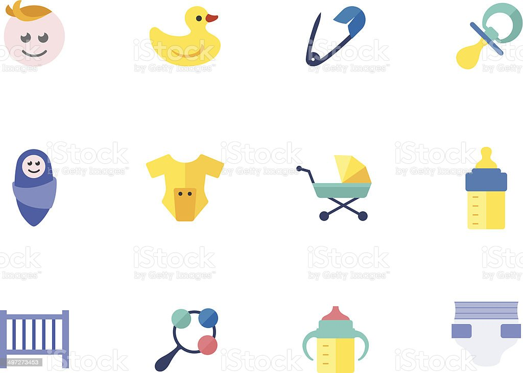 Flat Color Icons - Babies vector art illustration