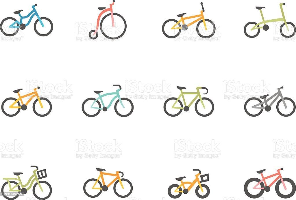 Ícones de cores plana de Bicicletas - ilustração de arte vetorial