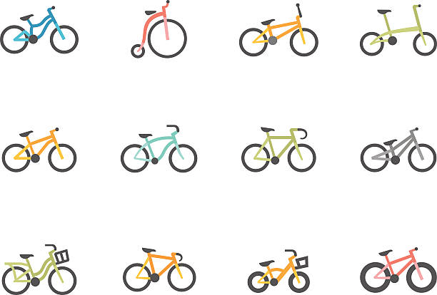 flat color icons - bicycles - bike stock illustrations, clip art, cartoons, & icons