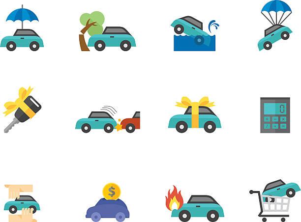 flat color icons car insurance vector art illustration