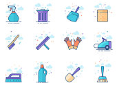 Flat Color Icons - Cleaning Tools