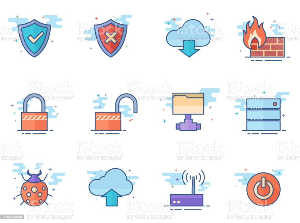 Flat color icons - Computer Network vector art illustration