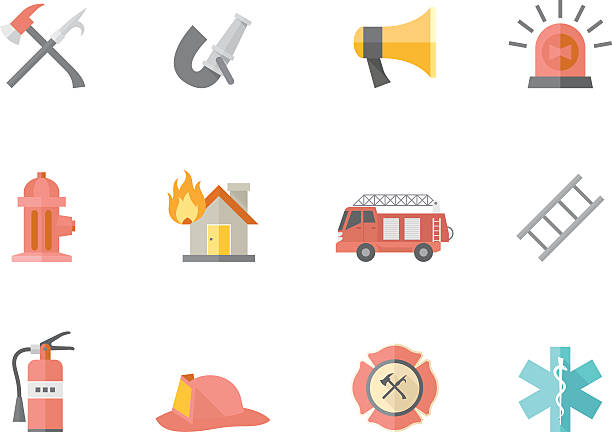 Flat Color Icons - Fire Fighter Fire fighter icons in flat colors style. EPS 10. AI, PDF & transparent PNG of each icon included. maltese cross stock illustrations
