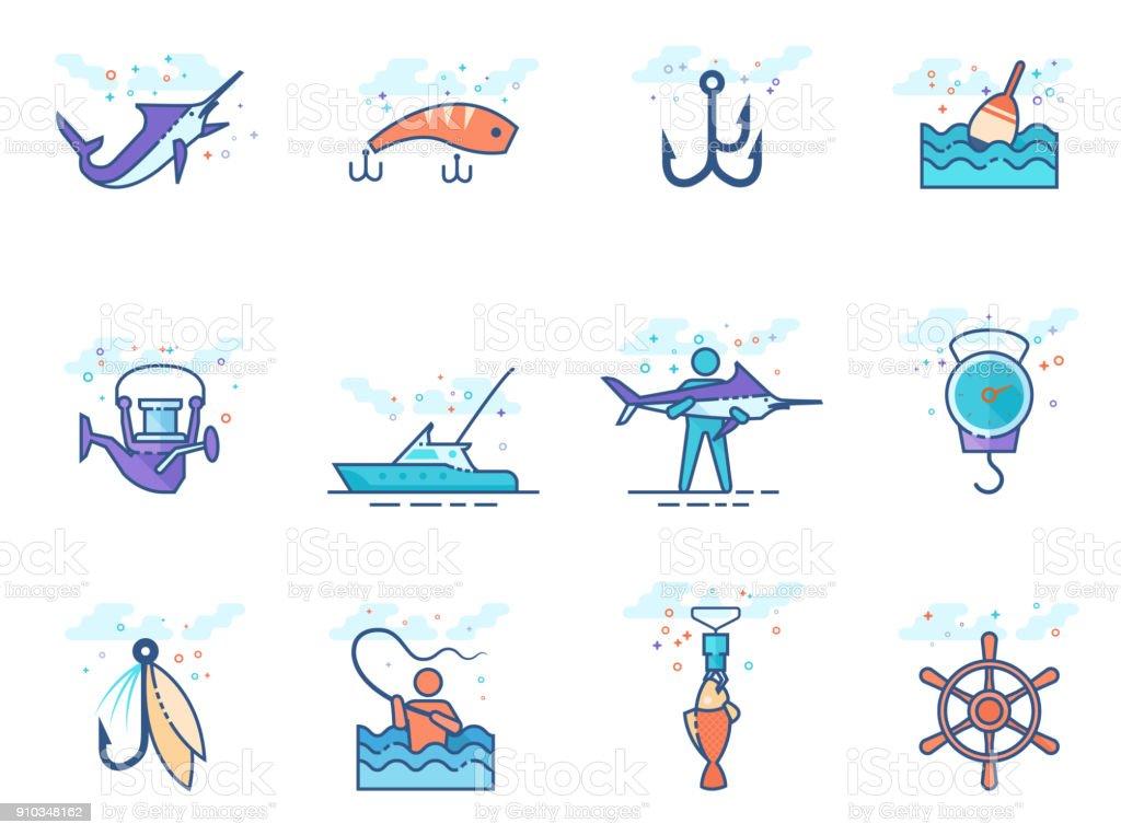 Flat color icons - Fishing vector art illustration