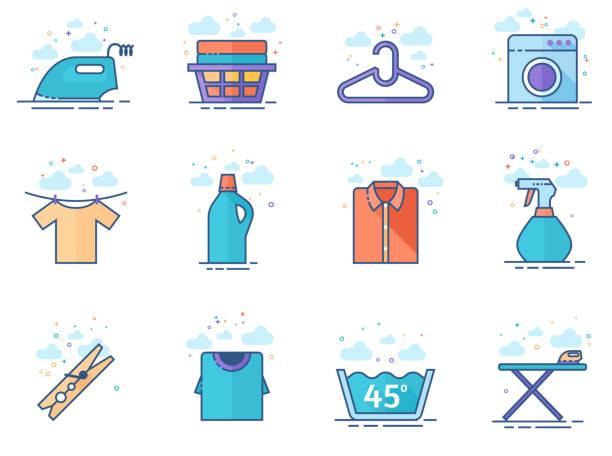 flache farbe icon-wäscherei - weichspüler stock-grafiken, -clipart, -cartoons und -symbole