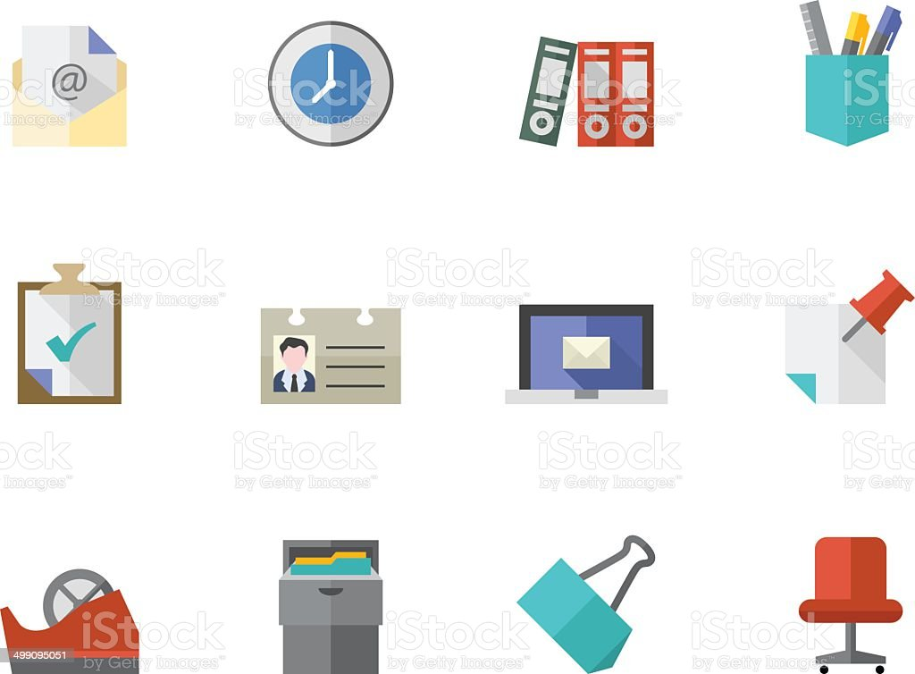 Flat Color Icons - Office vector art illustration