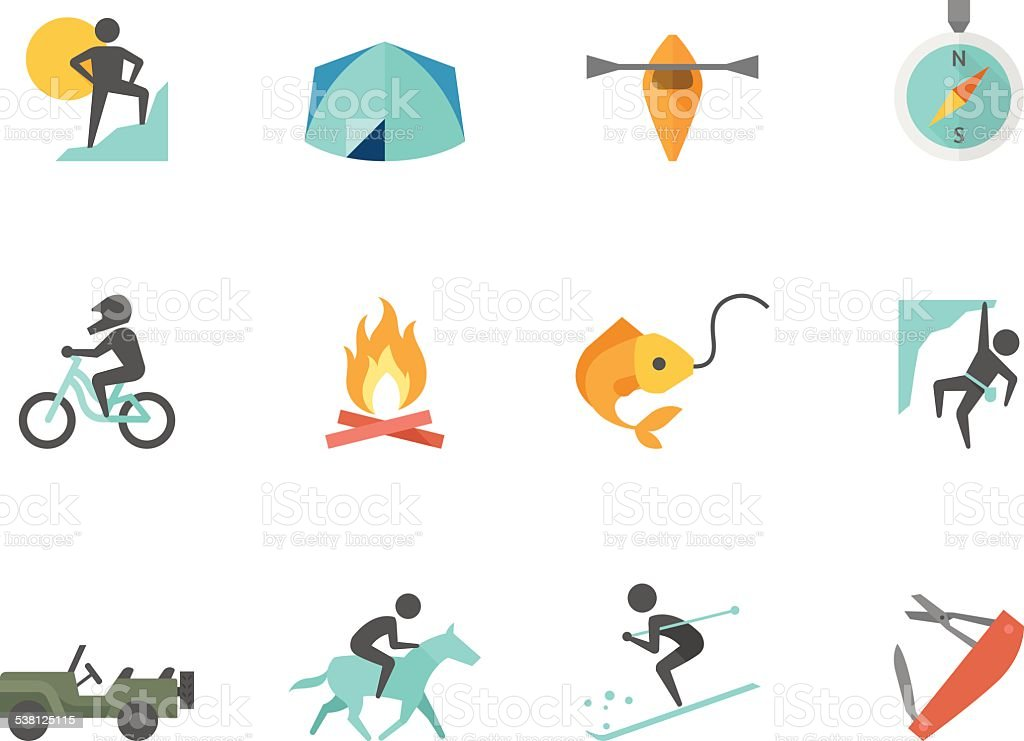 Flat Color Icons - Outdoor vector art illustration