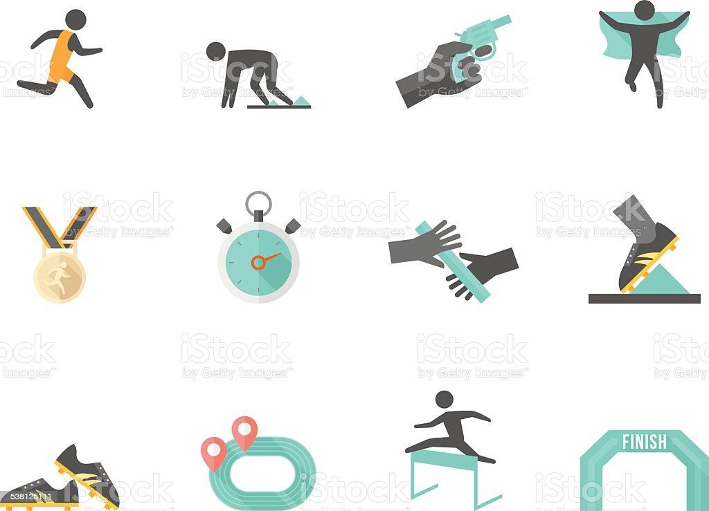 Color de los iconos plana de la competencia - ilustración de arte vectorial