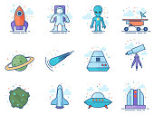 Space related icons incolor circles. Vector illustration.