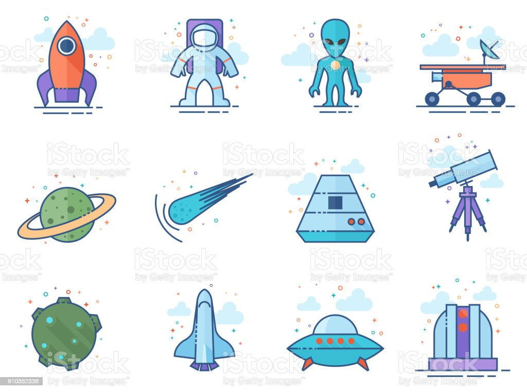 Flat Color Icons - Space vector art illustration
