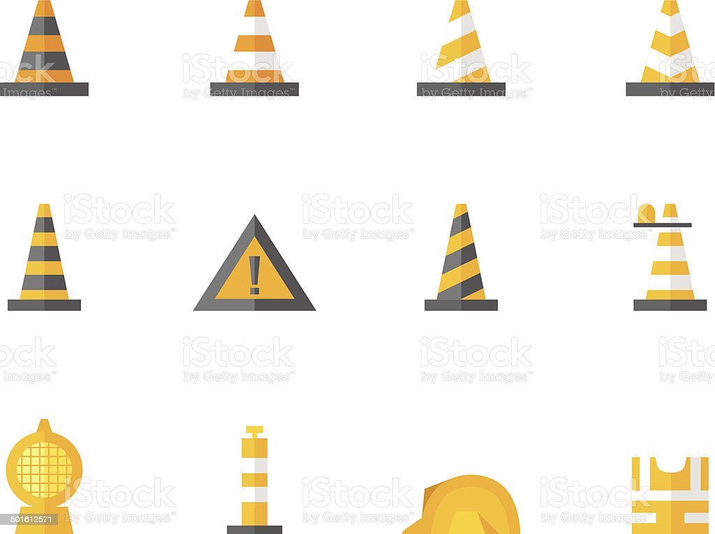 Flat Color Icons - Traffic Warning Sign royalty-free stock vector art