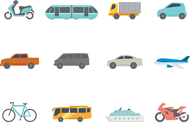Flat Color Icons - Transportation Transportation icon series in flat colors style. EPS 10. AI, PDF & transparent PNG of each icon included. aviation and environment summit stock illustrations