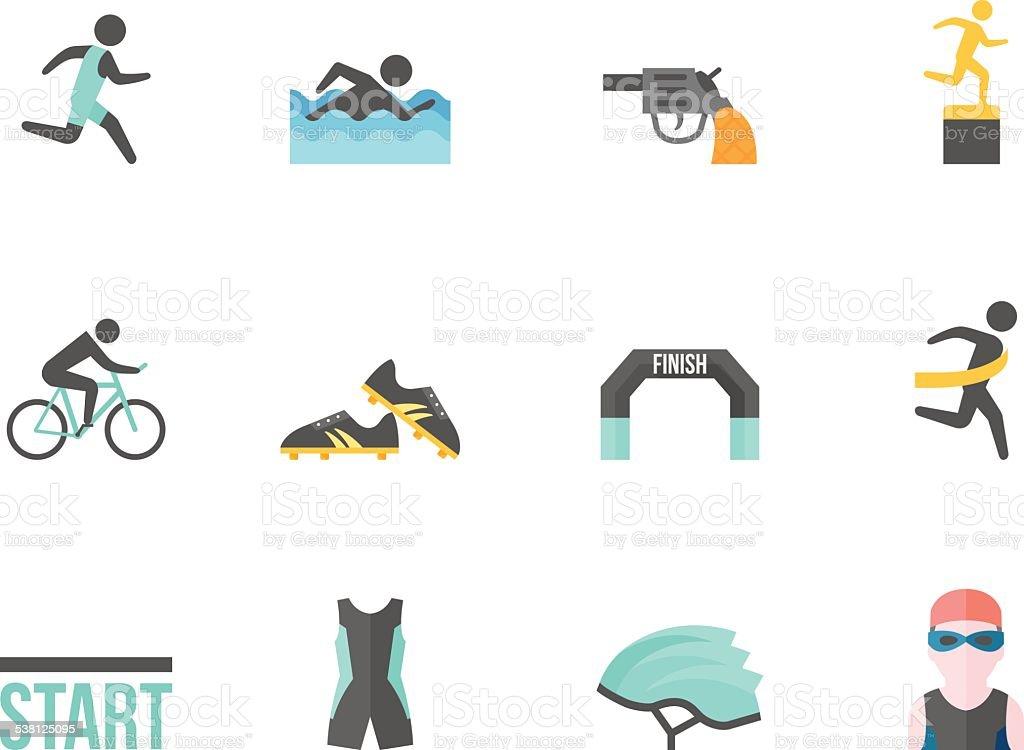Flat Color Icons - Triathlon vector art illustration