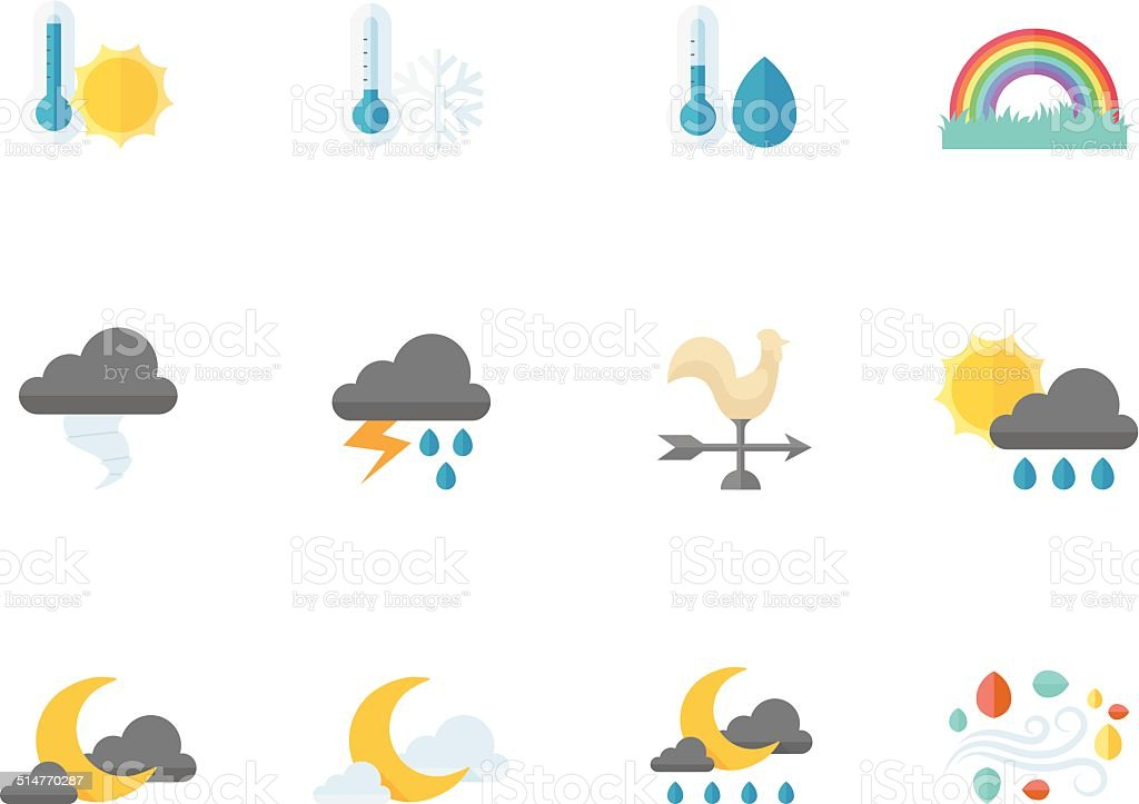 Flat Color Icons - Weather vector art illustration