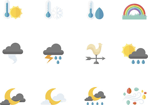 Flat Color Icons - Weather Weather icon series in flat colors style. EPS 10. AI, PDF & transparent PNG of each icon included. hailstorm stock illustrations