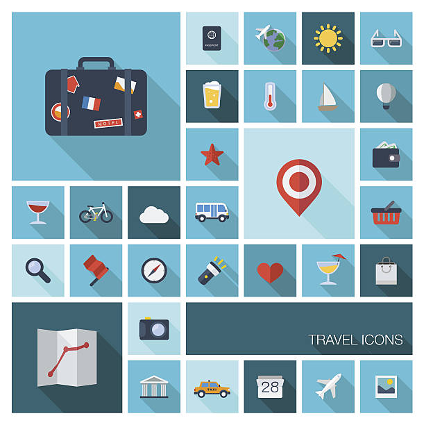 flat color icons with long shadows - business travel stock illustrations, clip art, cartoons, & icons