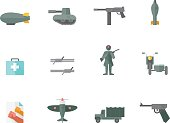 World War icons in flat color style.
