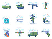 World War icons in flat colors style. Vector illustration.