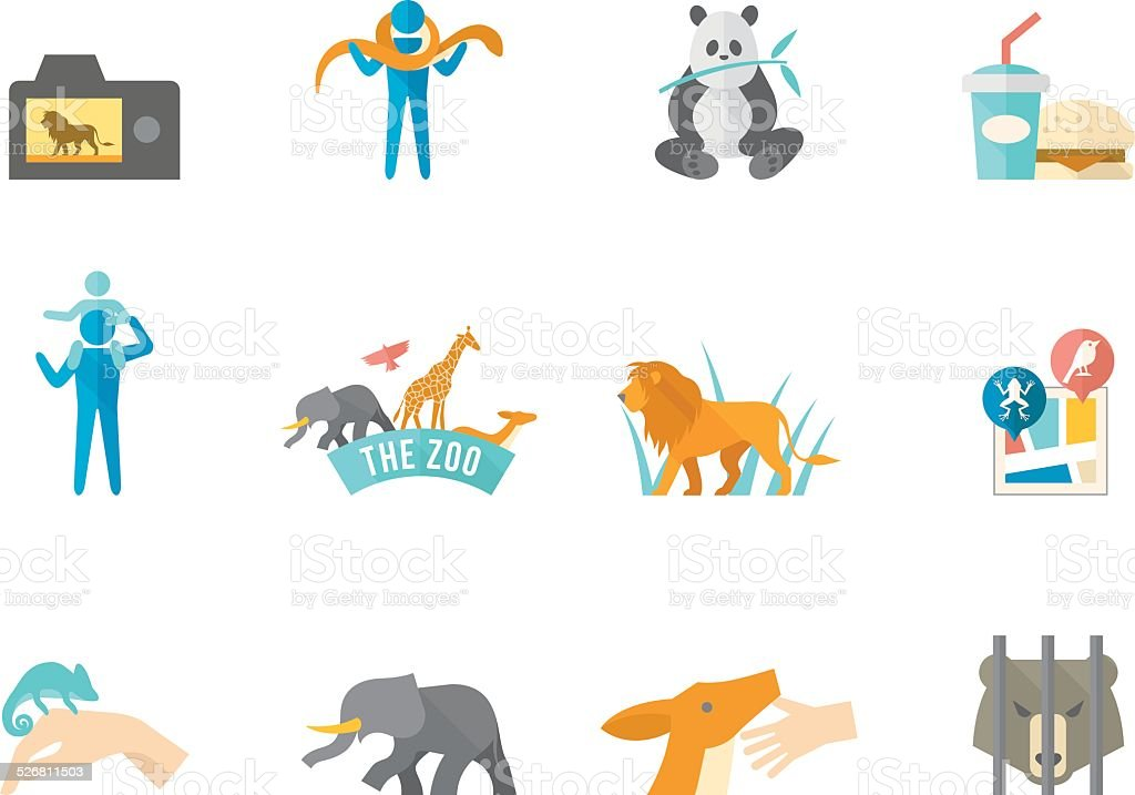 Flat Color Icons - Zoo vector art illustration