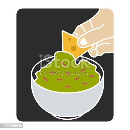 istock flat color illustration the corn tortilla chips dipped mexican guacamole sauce 1329696643