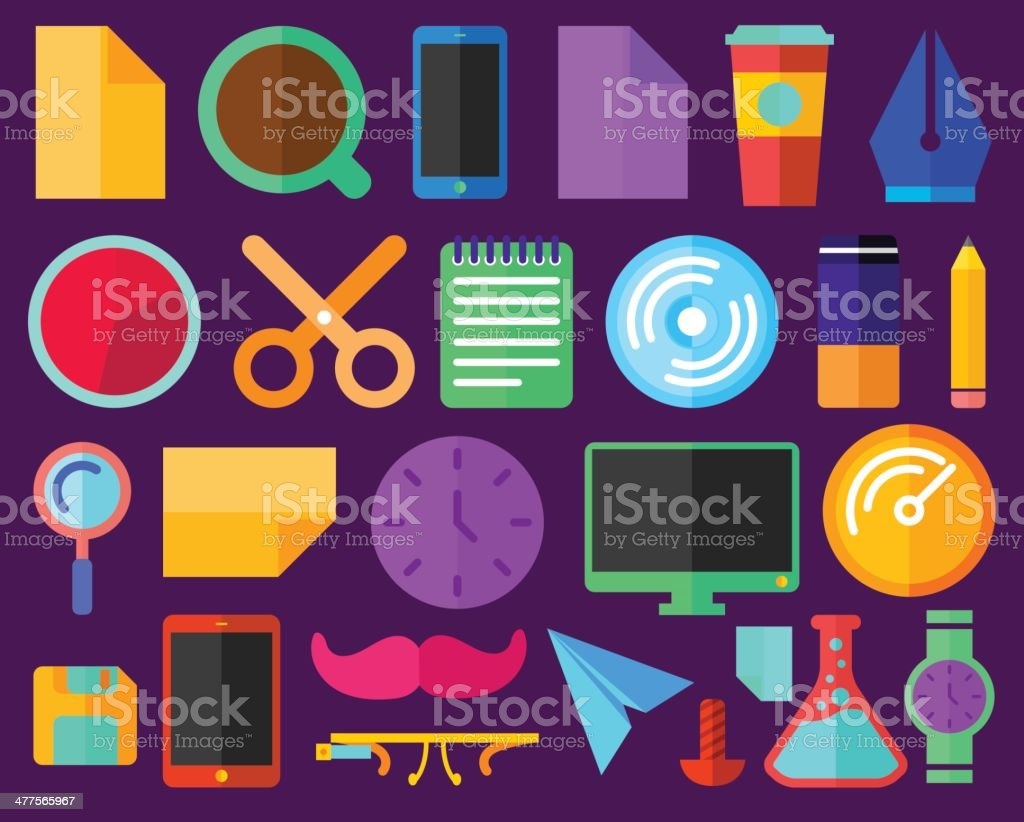 Flat Color Infographic Items royalty-free stock vector art