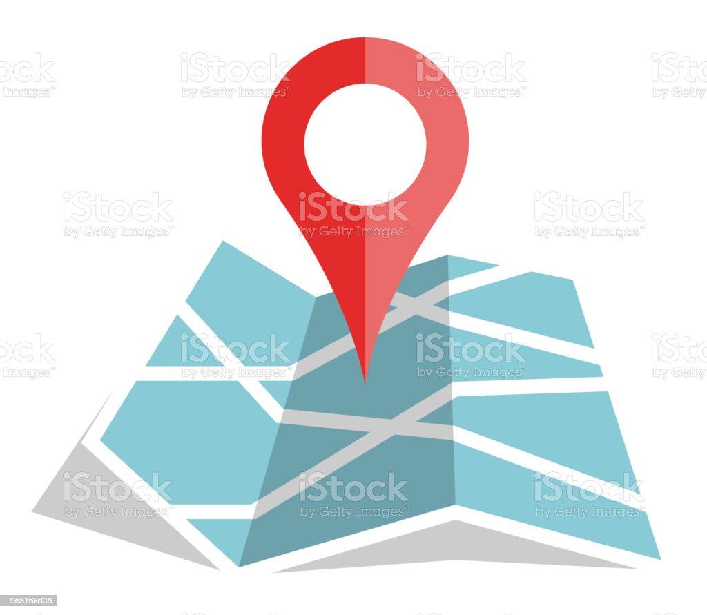 icone de localisation de couleur sur la carte en papier - Illustration vectorielle