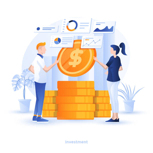 Flat color Modern Illustration design - Investment Modern flat design illustration of Investment. Can be used for website and mobile website or Landing page. Easy to edit and customize. Vector illustration budget backgrounds stock illustrations