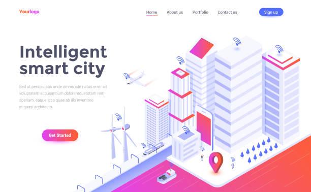 ilustrações de stock, clip art, desenhos animados e ícones de flat color modern isometric concept illustration - intelligent smart city - smart city