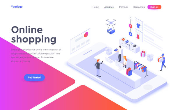 Flat color Modern Isometric Concept Illustration - Online Shopping Modern flat design isometric concept of Online Shopping for website and mobile website. Landing page template. Easy to edit and customize. Vector illustration shopping stock illustrations