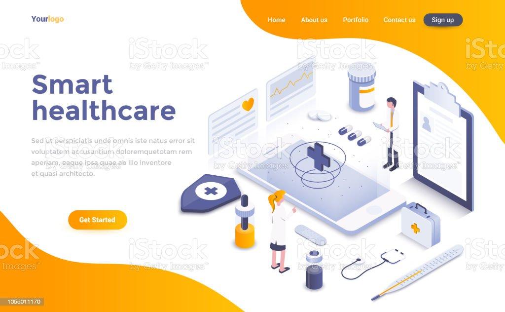 Flat color Modern Isometric Concept Illustration - Smart Healthcare royalty-free flat color modern isometric concept illustration smart healthcare stock illustration - download image now