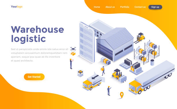 illustrazioni stock, clip art, cartoni animati e icone di tendenza di flat color modern isometric concept illustration - warehouse logistic - logistica