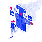 Modern flat design isometric illustration of Fitness app. Advanced training concept. Can be used for website and mobile website or Landing page. Easy to edit and customize. Vector illustration