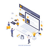 Modern flat design isometric illustration of Online Shopping. Can be used for website and mobile website or Landing page. Easy to edit and customize. Vector illustration