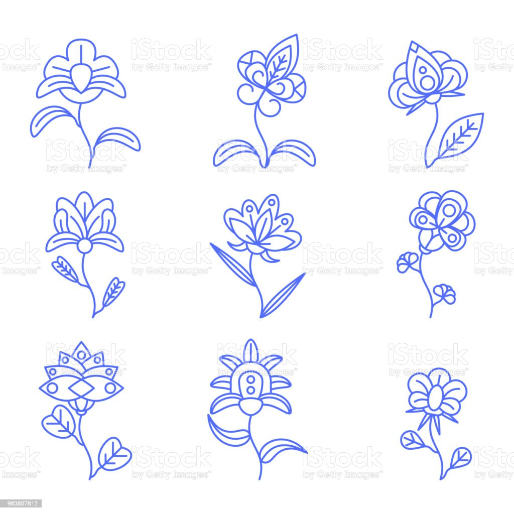 flat color outline flower set - Royalty-free Art stock vector