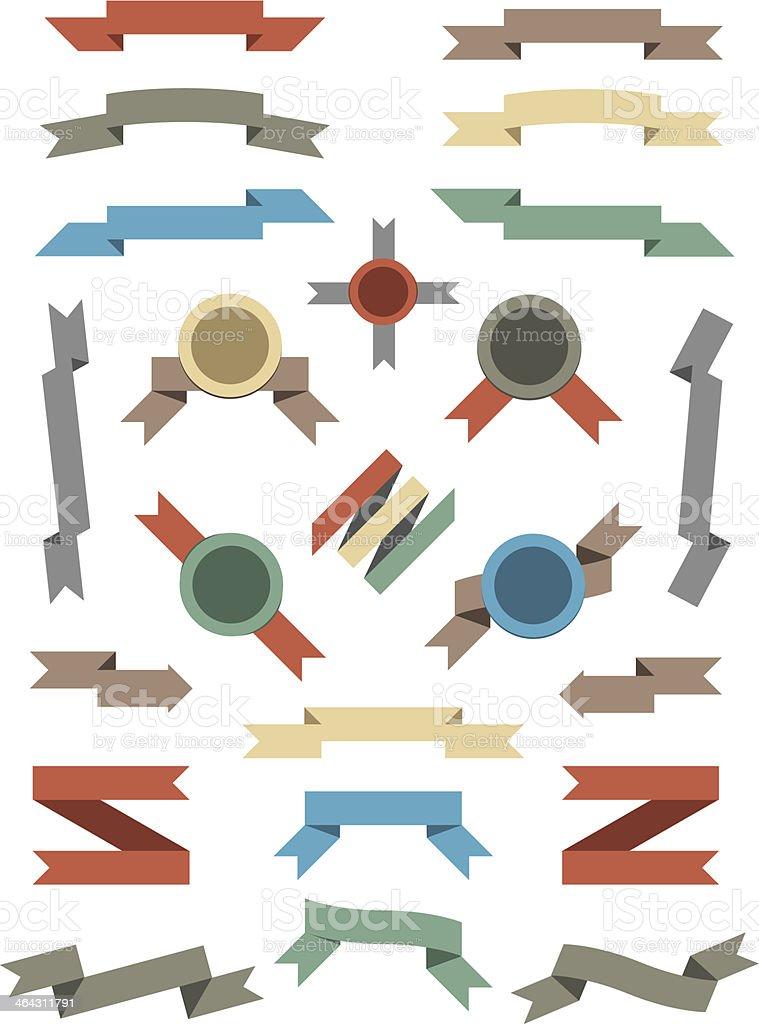 Flat Color Ribbons and Badges Set. royalty-free stock vector art