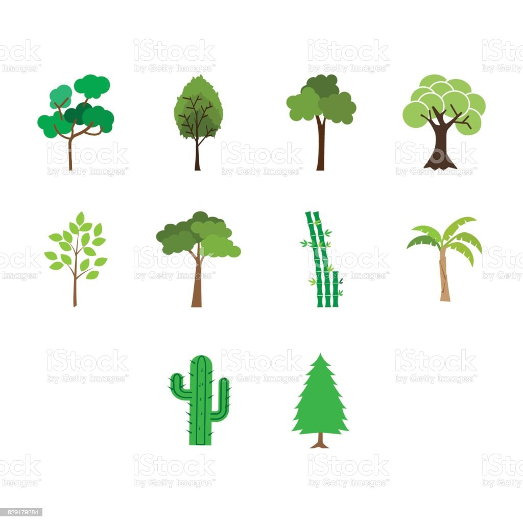 Flat color tree icon set vector art illustration