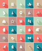 Flat Color UI Long Shadow Website Christmas Icon. Flat ui color style with  long shadow. No Clipping masks.