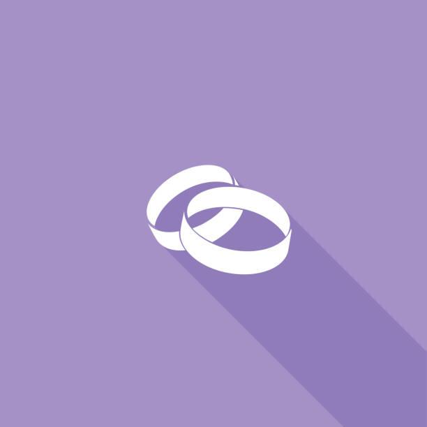 flache farbe ui langen schatten website hochzeit-symbol - trauring stock-grafiken, -clipart, -cartoons und -symbole