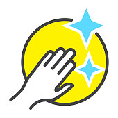 Flat color vector a clean / cleaning icon with human hand for apps or website