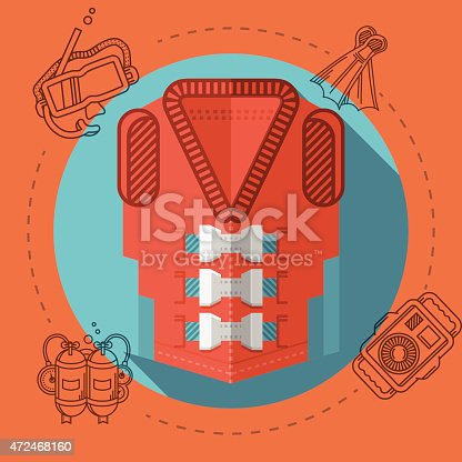 Flat color design vector illustration with round blue icon for red life jacket and gray diving accessory around on red background. Long shadow design.