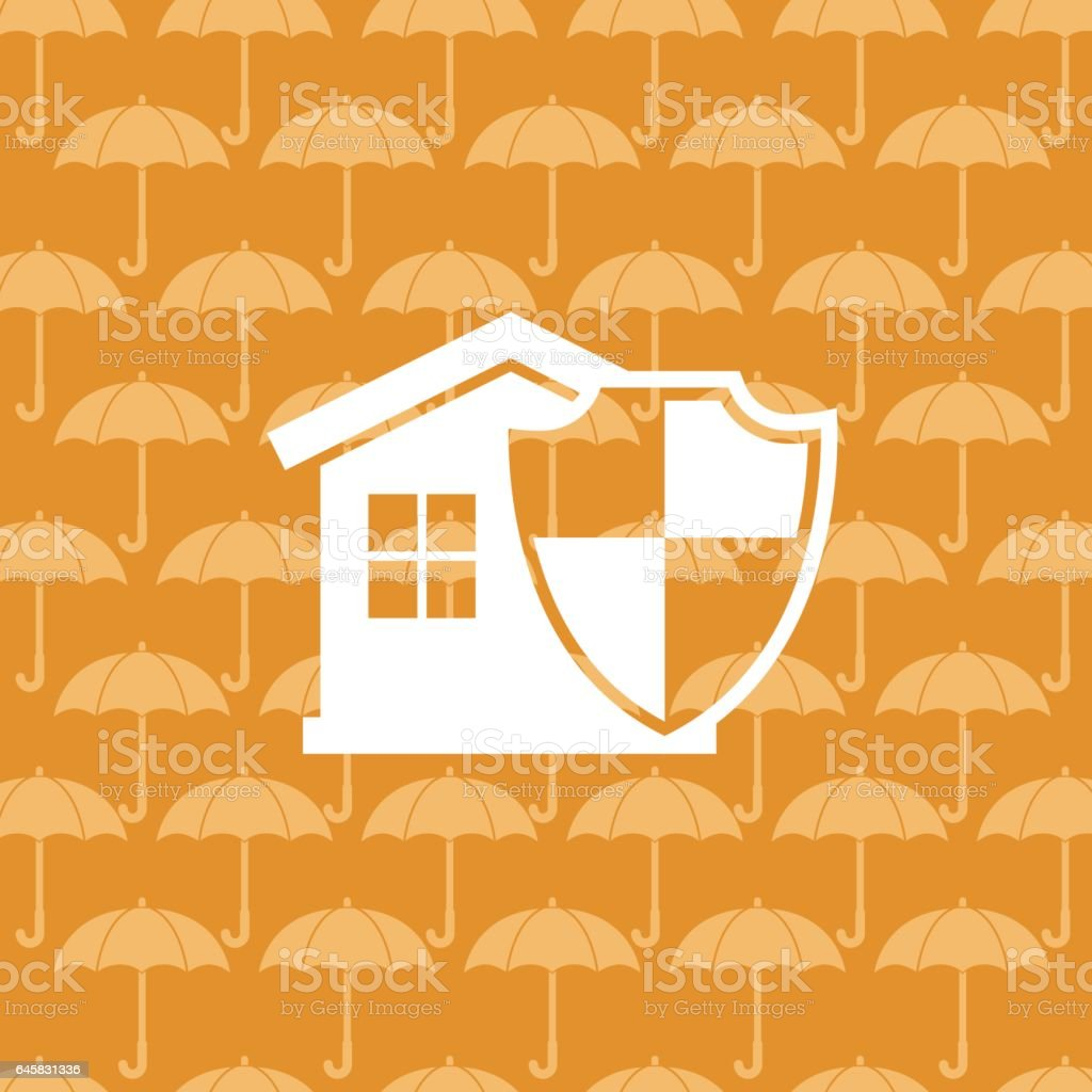 Flat Color Website Home Insurance Icon On A Patterned Base vector art illustration